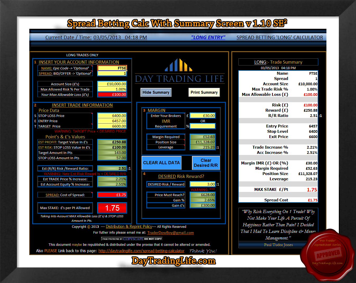 Spread trading strategy calculation